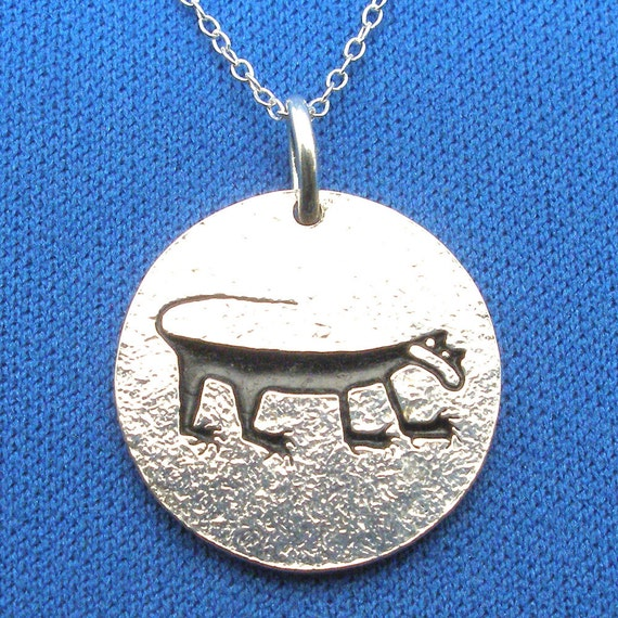 Cougar, Mountain Lion Petroglyph Necklace, Recycled Sterling Silver, Petrified Forest, Arizona