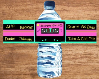 Instant Download 80s Party Mix Tape Water Bottle Labels