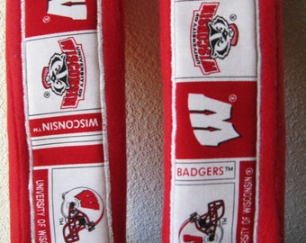 Wisconsin Badger, Seat  Belt Cover in red and white (set of two)