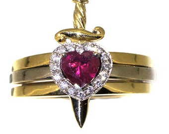 Ruby and diamond Heart and dagger stacked wedding engagement ring set