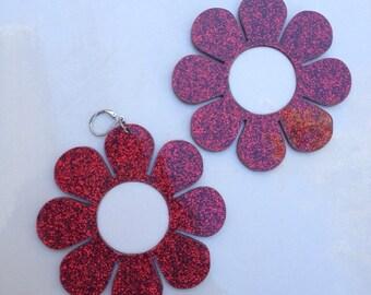 Red Glitter Flower Power earrings