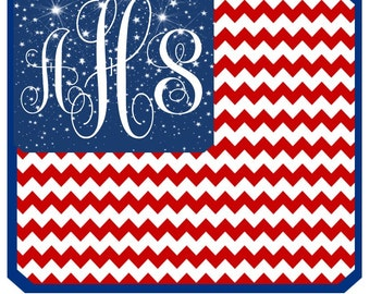 Patriotic 4th of July, Fourth of July, Memorial Day stars Flag Monogram iron on