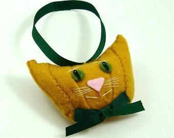 Christmas Cat Ornament, Felt Cat Ornaments, Cat Head Ornaments, Mango Color Felt Cat, Unique Cat Ornaments, Felt Cats, SWEET POTATO