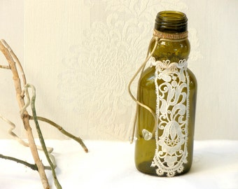 Crochet Lace Bottle , Green Bottle Home Decor, Table Centerpiece, Recycled Bottle, Shabby chic Decor, Upcycled Recycled Repurpose,