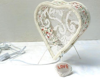 Heart Lampshade, Fabric lace lamp,Table lighting, Shabby chic lights ,Lovers Lamp, Antique lace lamp, Country French Decor, Love