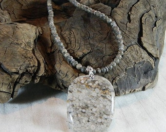 """Tan peach pink fossil crinoid jasper necklace 18"""" long reversible oblong pendant ooid semiprecious stone jewelry in a gift bag 11275"""