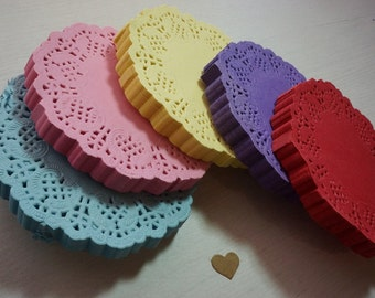 "20 Round Paper Lace Doilies 88mm (3.5"") *Baby Shower*Wedding* Cards*"