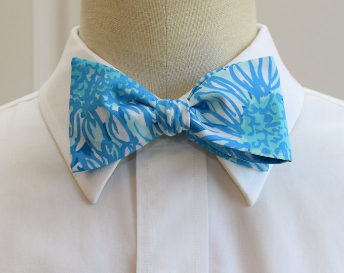 Men's Bow Tie, Lion In The Sun, blues and white Lilly print, wedding bow tie, groom bow tie, groomsmen gift, prom bow tie, tuxedo accessory