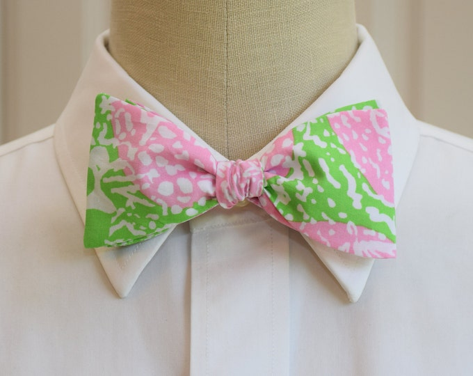 Men's Bow Tie, Cheat Ya, Lilly print, pink/lime bow tie, wedding bow tie, prom bow tie, groom bow tie, groomsmen gift, Easter bow tie,
