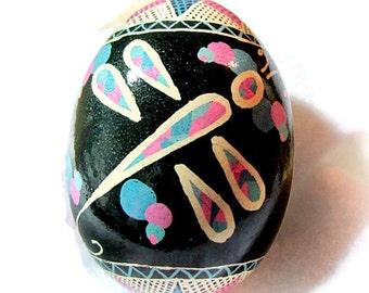 Egg, Pysanka, Ukrainian Easter Egg, Batik Decorated Chicken egg, Dragonfly Ukrainian Egg