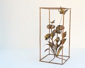 Vintage Brutalist style wire wall sculpture flower bouquet butterflies mid century modernist metal art C. Jere style