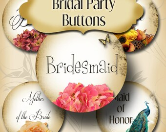CUSTOM Bridal Shower Buttons, Bachlorette Party Buttons, Bridal Party