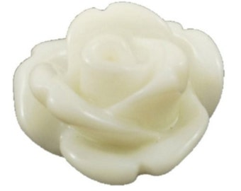 Rose Cabochons 10mm in White x 20 pcs
