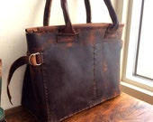 Ann leather tote, handmade leather bag, work/weekend travel bag, ladies tote purse, handmade leather bags and totes by Aixa sobin, bag maker