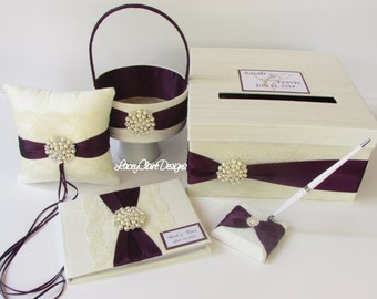 Wedding Card Box Set, Ring Pillow/Flower Girl Basket and Guest Book- Custom made to order