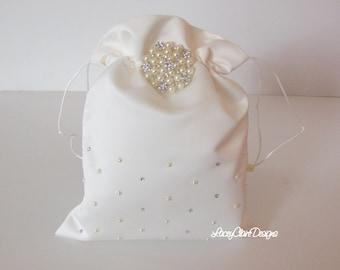 Wedding Dollar Dance Bag, White Bridal Money Bag, Wedding Purse, Bridal Money Purse, First Communion Bag, Custom Made