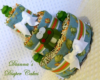 Baby Diaper Cake Frogs Boys Shower Centerpiece Gift Present Newborn
