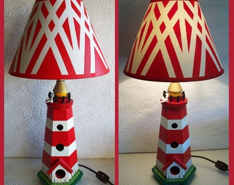 Lighthouse Night Light Lamp with Hand painted Shade