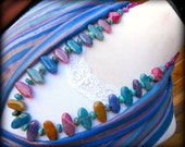 Multi Colored Crackle Agate Necklace, Long Chunky Turquoise Necklace, Colorful Necklace, Genuine Turquoise Jewelry, Cowgirl Jewelry