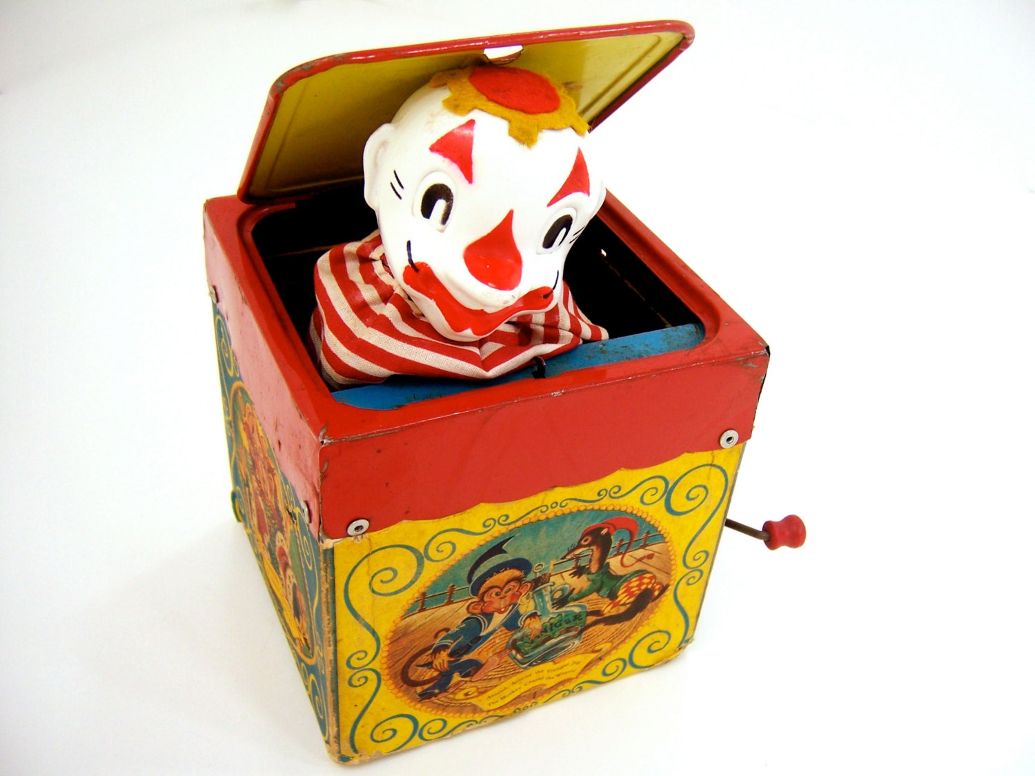 Jack-in-the-box vintage tin toy fun creepy by FreshRetroGallery