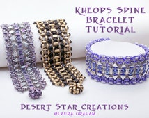 Kheop Triangle Superduo Stitched Cuff Tutorial, Kheops par Puca Beadweaving Pattern, SuperDuo CzechMates Half Moon Bracelet Instructions
