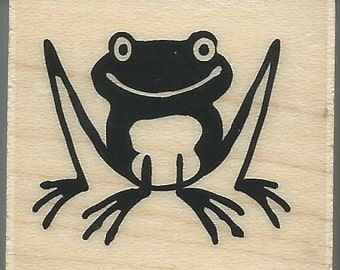Frog Stamp --   NEW  -- Wood Mounted Rubber Stamp --  Inkadinkado Brand --   (#975)