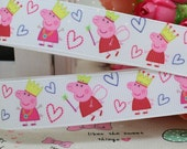 CLEARANCE SALE * FREE Shipping ~ one yard x  Peppa Pig  22 mm Grosgrain Ribbon Pink Piglet