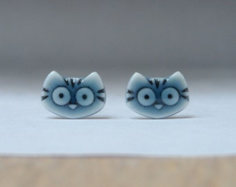 Tiny kitty cat porcelain stud earrings handmade peacock green glazed English porcelain