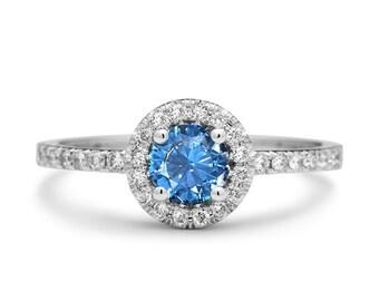 Vintage Style Diamonds White Gold Blue Topaz Engagement Ring