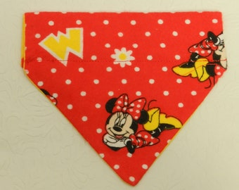 M is for Minnie! Disney Minnie Mouse Polka Dot and Daisy Character Theme Bandana! Dog Cat Ferret Reversible 2 in 1 Over the Collar Bandana.