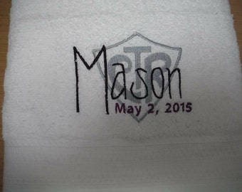 Personalized LDS baptism towel with CTR shield. Mormon baptism gift. Keepsake.