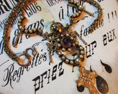 Antique Victorian revival necklace etruscan religious 10k GF cross faux pearl one of a kind vintage catholic jewelry assemblage