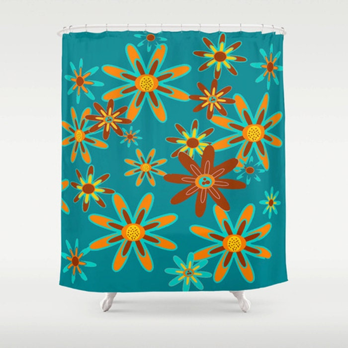 Blue Floral Shower Curtain Modern Floral Shower Curtain