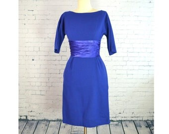 1950's VINTAGE  Royal Blue Wool Dress w/ Ruched Satin Waist