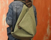 Handmade Canvas backpack made in  stonewashed light vegetable green canvas with leather ,named Kalliope MADE TO ORDER