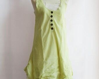 D7, Two Tone Kawaii Light Yellow Cotton Dress, Green sundress