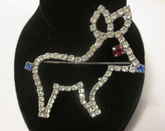 Rudolph The Blue Nosed Reindeer - Vintage Rhinestone Deer Brooch