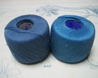 Two reels skeins Vintage French  Paris Habedashery Thread yarn Prussian Blues