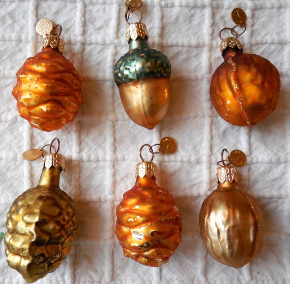 Set of dept mercury glass nuts christmas tree ornament