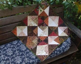 Rustic batik blocks table topper
