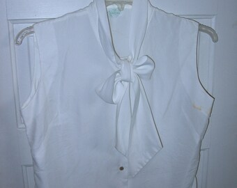 Vintage 50s Judy Bond White Sleeveless Bow Blouse Vintage Size 16-36