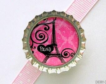 Eiffel Tower Pink Paris Damask Bottle Cap Magnet - eiffel tower decor, french country home, paris theme party favors, paris wedding favors
