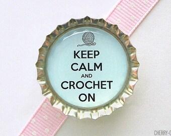 Keep Calm and Crochet On Magnet, Bottle Cap Magnet, gifts for crocheters, gift for friend, stocking stuffer, secret santa gift, organization