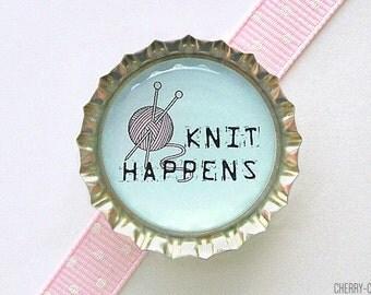 Knit Happens Bottle Cap Magnet - kitchen organization, gift for knitter, yarn love knitter gift, knitting gift ideas, knitting club favor