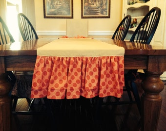 Valentine's Table runner for 60 inch table, 64 inch cotton blend fabric, border on each side. Natural and hot pink