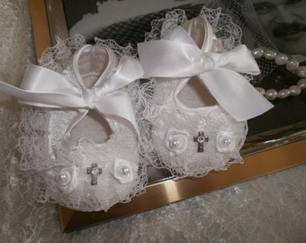 White Baby Girl Shoes, Christening, Blessing, Baptism, Dedication, Crib Shoes, Dressy Shoes ,Baby Shoe, Shower Gift, Photo Prop,White Shoes