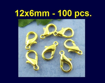 100 pcs. Gold Plated Lobster Clasps - 12mm X 6mm - Claw Clasps