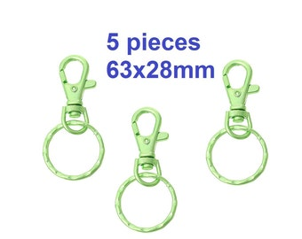 5 pcs. Green Lobster Swivel Clasp and Key Ring - 63x28mm (2.5 inch)
