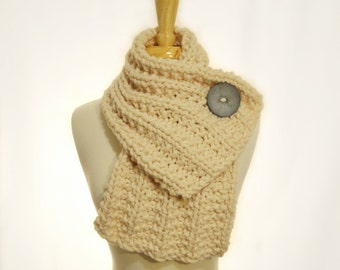 Button Cowl - Fisherman Cream with a Grey Button