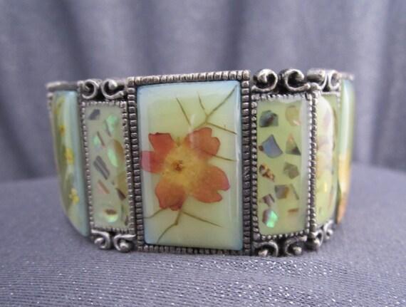 Vintage Pressed Flower Panel Bracelet, Glass Flower Stretch Bracelet